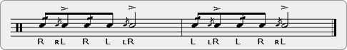 Displaced Flamacue (with Diddles on One and Three) Rudiment Sheet Music