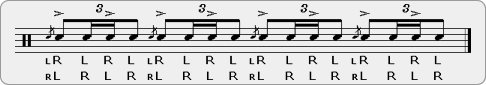 Double Accented Single Flam Drag Rudiment Sheet Music
