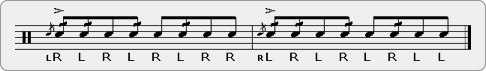 Flam Five Double Drag Diddle Rudiment Sheet Music