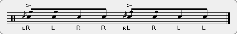Flam Five Paradiddle Rudiment Sheet Music