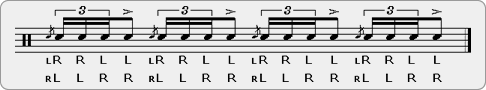 Flam Four Stroke Roll Rudiment Sheet Music