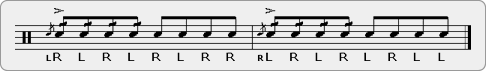 Flam Nine Triple Paradiddle Rudiment Sheet Music