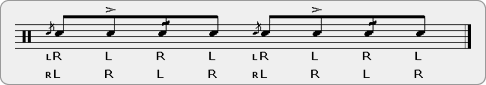 Flamacue Drag Rudiment Sheet Music