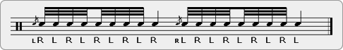 Flammed Alternating Single Stroke Nine Rudiment Sheet Music