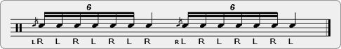 Flammed Alternating Single Stroke Seven Rudiment Sheet Music