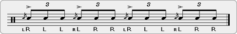 Inverted Threes Rudiment Sheet Music