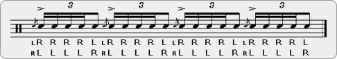 One Handed Flam Five Rudiment Sheet Music