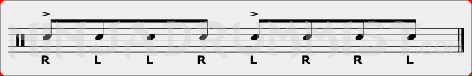 Inverted Paradiddle Rudiment Sheet Music