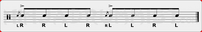 Single Flammed Mill PAS Rudiment Sheet Music