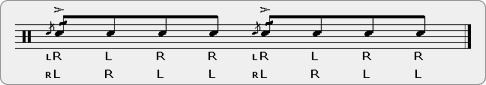 Same Hand Cheese Paradiddle Rudiment Sheet Music