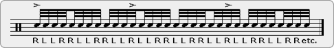 Slurred Eleven Stroke Roll Rudiment Sheet Music