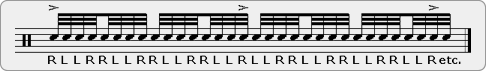 Slurred Fifteen Stroke Roll Rudiment Sheet Music