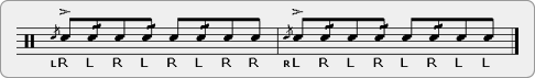 Triple Flam Drag Diddle Rudiment Sheet Music