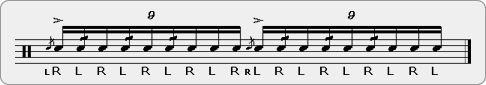 Triple Ratamaflam Rudiment Sheet Music