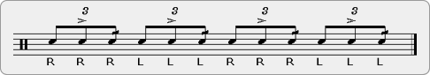 Triple Stroke Tap Drag Rudiment Sheet Music