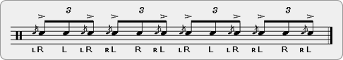 Triplet Pataflafla Rudiment Sheet Music